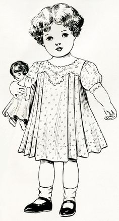 free printable digital image designer resource ~ vintage girl with doll from June 1908 Delineator magazine Vintage Cards, Vintage Images, Vintage Sewing Patterns, Embroidery Patterns, Adult Coloring Pages, Coloring Books, Vintage Illustration, Retro, Couture Vintage