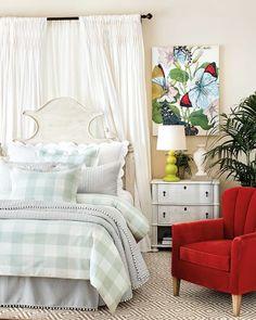 Ballard Designs Claudette headboard with gingham shams and comforter. Home Decor Kitchen, Home Decor Bedroom, Bedroom Ideas, Cottage Bedrooms, Bedroom Curtains, Guest Bedrooms, Master Bedrooms, Guest Room