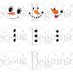 Printable Snowman Faces | Snowman Faces and Buttons for Bottle Cap Ornaments ...
