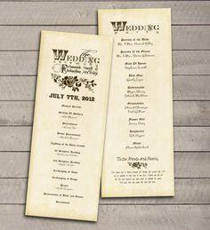 Vintage Wedding Program printable DIY by perfectlywhimsical, $16.99