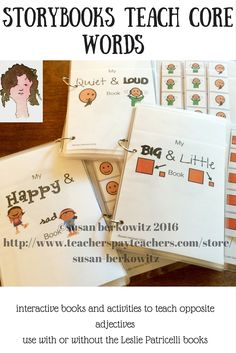 Story books provide a good decontextualized practice for teaching vocabulary to AAC users and other Emergent Communicators. Leslie Patricelli has written some board books for young children that illustrate the meanings of some important core vocabulary: quiet/loud, happy/sad, big/little.I have created book companion interactive books for each of her 3 books featured in this resource, using many of the items from her books and providing a place for students to add the correct adjective to…
