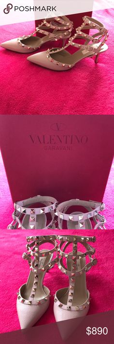 Valentino strap heels Low heel  Never worn Can fit 6 1/2 as my size 7 foot comes right to the edge of the shoe. Valentino Shoes Heels