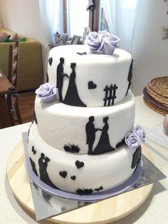 Svatebni dort, siluety manželů