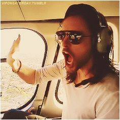 Jared Leto in a helicopter