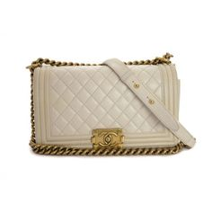 Chanel Lambskin Quilted Medium Boy Flap In White