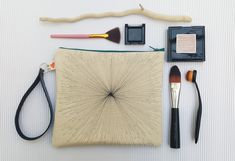 Geometric print canvas pouch, Canvas zipper pouch, Unique wristlet, Hand drawn cosmetic bag, Make up bag, Evening clutch for her, Geometric Presents For Her, Fabric Markers, Craft Items, Zipper Pouch, Cosmetic Bag, Wristlets, Cotton Canvas, Hand Drawn, How To Draw Hands