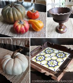 Fall Vingette 26- take these items most found at thrift and craft stores.  Remove tiles from tay and paint tray and bowl stand the same color and matte mod podge them. Use E6000 to attach bowl stand to tray. Next spray plastic pumpkins with rustoleum Stone and some rustoleum Eden (green). Use acrylic brown from stems.