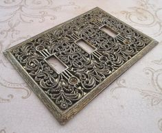 Light Switch Cover Vintage 1970s Decorative by TheBeadSource