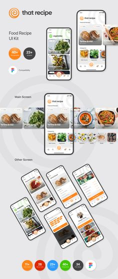 That Recipe is a recipe app ui kit. It is designed to be pixel perfect with a clean design style. Its components are designed to be responsive ready to use. Desing App, App Ui Design, Food Web Design, Mobile Web Design, Typography App, Real Estate Website Design, Restaurant App, App Design Inspiration, Ui Web