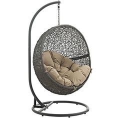 Modway Hide Collection 40 Inch Outdoor Patio Swing Chair with Powder-Coated Steel Frame, Synthetic Rattan Weave and Washable Polyester Cushion in Gray and Beige Wicker Swing, Egg Swing Chair, Hanging Swing Chair, Hammock Swing Chair, Swinging Chair, Swing Chairs, Hanging Chairs, Bedroom Hammock, Hammock Ideas
