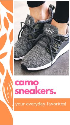 These lightweight athleisure style sneakers will be your new favorites! Featuring a heathered charcoal and camo design, these monogrammed sneakers are made of breathable knit mesh fabric for optimum comfort. Pair them with any look from on-the-go casual wear to dressed up athleisure.