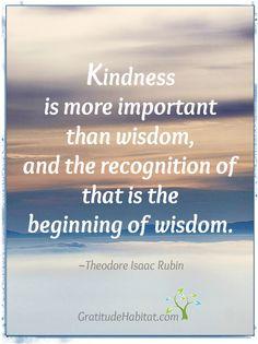 Kindness is more important than wisdom. Visit us at: www.GratitudeHabitat.com #kindness #wisdom # Theodore Isaac Rubin