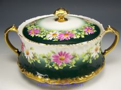 LIMOGES FRANCE HAND PAINTED DAISY BISCUIT CRACKER JAR ARTIST COURTY