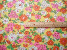 Vintage Fabric - Bright Flowers on Yellow