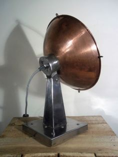 Converted-Vintage-Rustic-Shabby-Copper-Heat-Lamp-Industrial-Steampunk-Table-Lamp