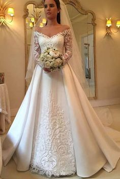 Discount 2018 Elegant White A Line Wedding Dresses Off Shoulder Long Sleeve Lace Appliques Sexy Back Button Bridal Dresses Charming Wedding Gowns Ivory Wedding Dresses Long Sleeve Wedding Dress From … Wedding Dress Train, Applique Wedding Dress, Wedding Dress Sleeves, Princess Wedding Dresses, Modest Wedding Dresses, Bridal Dresses, Lace Dresses, Bridesmaid Dresses, Elegant Dresses