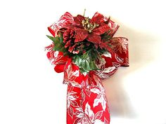 Large red and white poinsettia gift bow/ by JDsBowCreations