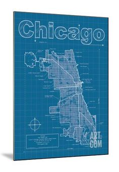 Chicago Artistic Blueprint Map Art Print by Christopher Estes at Art.com Chicago Art, Architectural Prints, Map Art, Find Art, Framed Artwork, Christmas Ideas, Art Prints, Artist, Poster