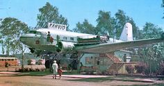 """006 Lujanen, DC-2 """"Hanssin Jukka"""" kahviona Hämeenlinnassa. Cafeteria in Hämeenlinna, 1959 - 1981. #Finland"""