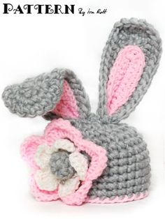 Fashion Crochet Design By Ira Rott: Crochet Bunny Hat With Flower for Little Girl - PD...