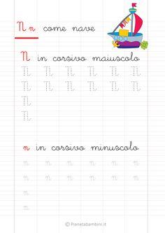 Schede di Pregrafismo delle Lettere dell'Alfabeto da Stampare | PianetaBambini.it Graph Paper Art, Montessori, Alphabet, Homeschool, Activities, Education, Gaia, Words, Scarlet