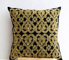 Black geometric throw pillows beaded  detail  Gold by AmoreBeaute