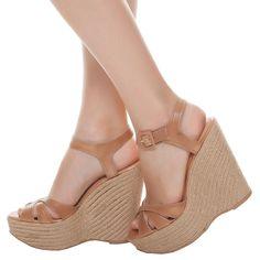 Sandália anabela couro corda - marrom
