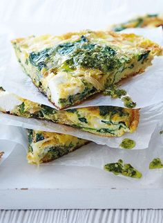 Quick, easy and delicious. This vegetarian frittata is packed full of flavoursome pesto, spinach and soft goat's cheese.