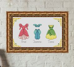 Disney cross stitch pattern Disney princess dress cross stitch pattern Ariel cross stitch Jasmine cross stitch Tiana cross stitch pattern