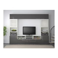 BESTÅ TV storage combination/glass doors - white/Selsviken high-gloss/gray frosted glass, drawer runner, soft-closing - IKEA