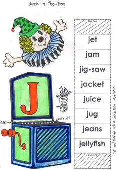 Jj Craft for Letter of the Week. Concertina the strip and attach Jack to the box.