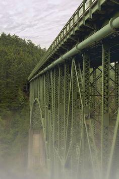 Deception Pass Bridge is a two lane bridge in Washington.  It connects Whidbey Island to Fidalgo Island.