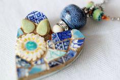 Valentine Heart Mosaic Pendant Blue Mosaic by lisabetzoriginals, $45.00