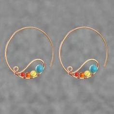copper wiring hoop Earring handmade ani designs by wanting
