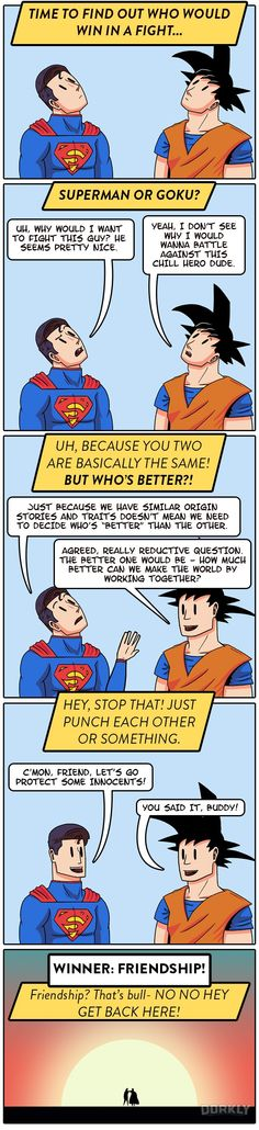 Who Would Win: Goku or Superman? TRICK QUESTION!! FRIENDSHIP WINS