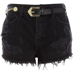 River Island Black belted high waisted ripped denim shorts ($23) ❤ liked on Polyvore