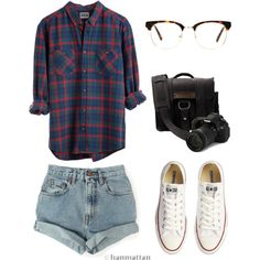 """College Outfit #1"" by ohlookitsdonte on Polyvore Plaid Button Down shirt, high waist denim shorts, and some white converse"