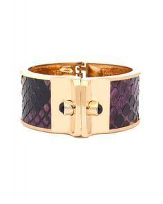 Snakeskin bracelet - Small shirt cuff, gold with multi-color pyhton and amethyst $315.00 Kara Ross