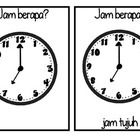 "Make simple yet effective flashcards which teach students how to tell the time (o'clocks) and how to ask 'what time is is?"" in Indonesian.    You wil..."