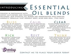 Introducing Scentsy Essential Oil Blends. Available September 1st, 2015 order online https://lisarucker.scentsy.us