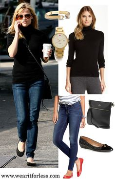 Reese Witherspoon in a black turtleneck sweater and jeans - get this outfit for less! Sweaters And Jeans, Black Sweaters, Black Turtleneck, Reese Witherspoon, Designer Wear, Fashion Bloggers, Fall Outfits, Going Out, Feminine