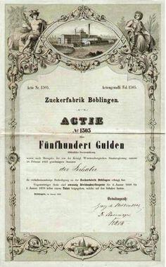 Zuckerfabrik Böblingen Aktie 500 Gulden, Böblingen 1863