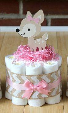 Girl Woodland Deer Mini Diaper Cake