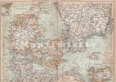 1899 Denmark South of Sweden and Iceland in the by Maptimistic, $15.90