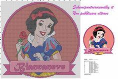 schema punto croce gratis principessa disney biancaneve per cuscino