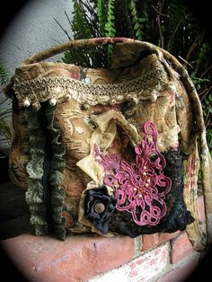 OMG WANT!!!!!!! Crossover Bohemian Bag handmade earth tones lace by GrandmaDede..