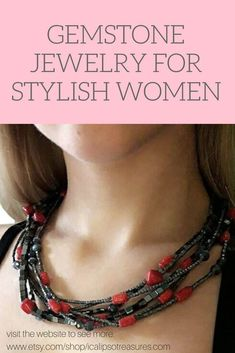 Multistrand necklace for women with bamboo red coral. This statement gemstone necklace is a perfect gift for girlfriend or mom. They will be happy to receive them as Christmas or birthday jewelry gift. Visit the website to see more.