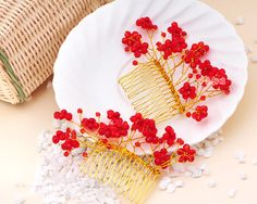 Beading Bridal Crown Wedding Tiara Barrette Flower girl Hair clip ...