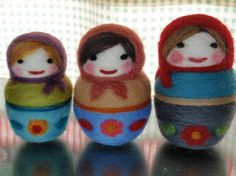 felted russian dolls - marginal because they don't stack. Stacking is part of the appeal. (debzeb)