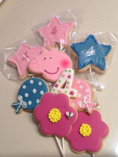 Peppa Pig themed cookies baked with love for my granddaughter, Naomi's 4th birthday party.